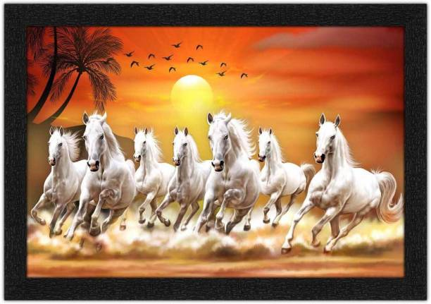 Art Amori Seven Horse Running At Sunrise Painting with Synthetic Frame Digital Reprint 14 inch x 20 inch Painting