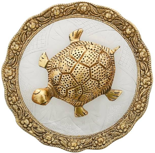 AapnoCrafts White Metal With Glass Plate Feng Shui Metal Tortoise ,Turtle Plate Yantra Vastu Feng Sui Decorative Showpiece  -  10.16 cm