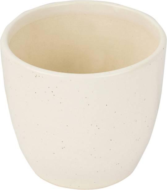 brightshop Ceramic Flower Pot Handmade Planter With Plate White Plant Container For Table Top Decor Garden Decor Ceramic Vase