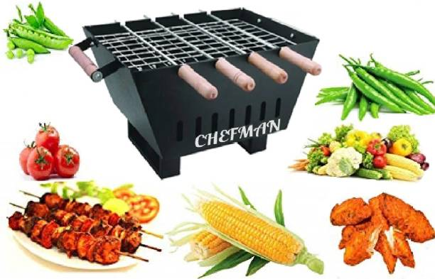 Chefman Portable Picnic Charcoal Barbeque Grill & Tandoor with 4 Skewers Wooden Handle, 1 Iron Grill (Black) Charcoal Grill