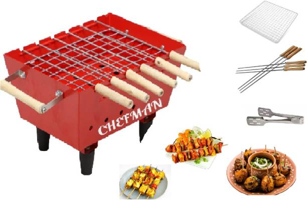 Chefman Portable Charcoal Barbeque Grill & Tandoor 6 Skewers, Grill, Tong Set (Red) Charcoal Grill