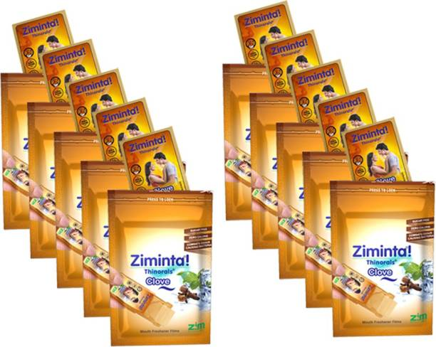 Ziminta Clove Flavoured Mouth Freshener Easily Soluble Digestive Dispensable Strip (30 Strips) - Pack of 10 Strip