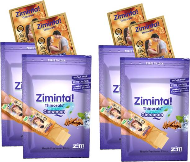 Ziminta Cinnamon Flavoured Mouth Freshener Easily Soluble Digestive Dispensable Strip (30 Strips) - Pack of 4 Strip