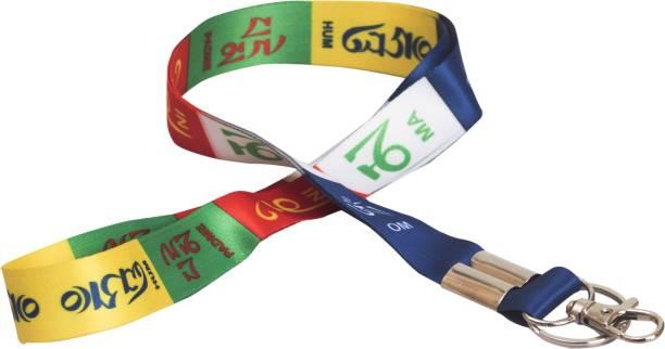 AVI ID tag with Tibetan Ladakh Prayer Tag Locking Key Chain