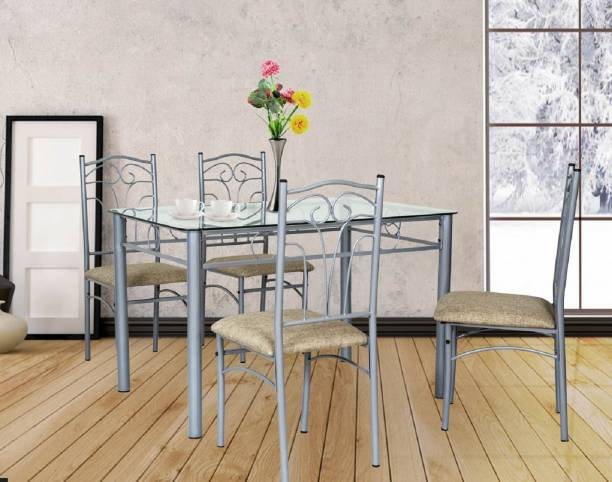 FurnitureKraft San Diego Glass 4 Seater Dining Set