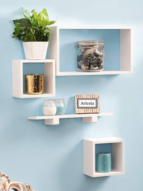 Decorhand Wall Mount Set of 4 White Wooden Wall Shelf