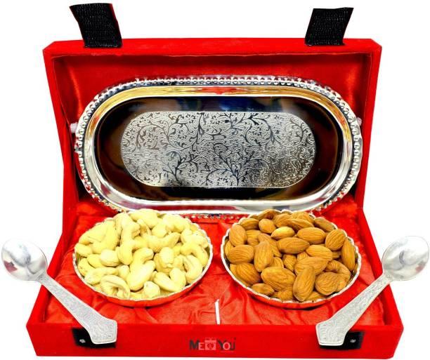 Midiron Decorative Silver Bowl set with Dry fruits Cashew (60 gm) Brass Gift Box