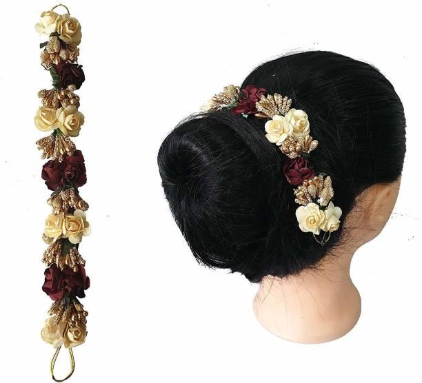 Foreign Holics Bridal Flower Hair Gajra Juda Hair Pin Accessories Multicolored Hair Pin