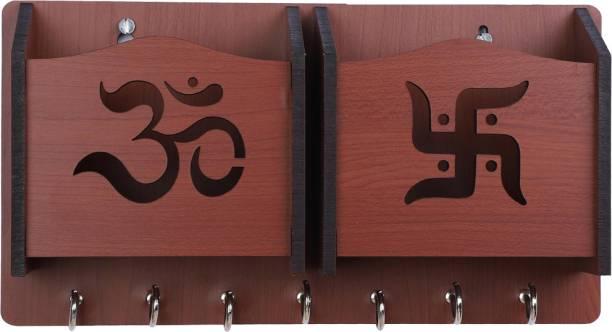 Sehaz Artworks Om-Swastik-BR-KeyHolder Wood Key Holder
