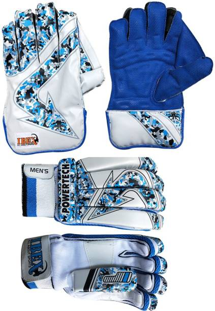 IBEX Regular Wicket Keeping Gloves With Arrow Batting Gloves (Blue) Wicket Keeping Gloves