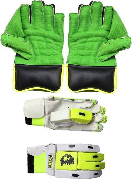 IBEX Green Wicket Keeping Gloves With Match Batting Gloves Wicket Keeping Gloves