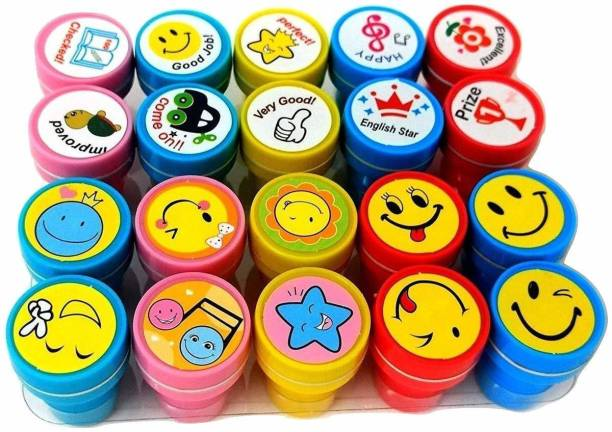 Radhakrishan 20 Stamps For Kids, 10 Emoji and 10 Motivation Pencil Top Stamps