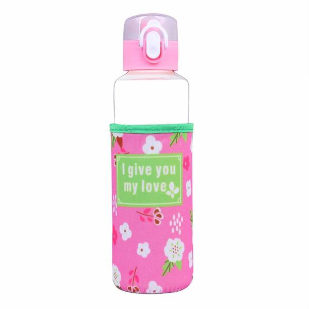 U-grow Glass Bottle/Sipper with Lock & Insulation Cover (360ml) - 360 ml