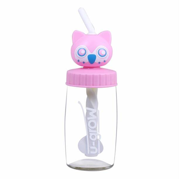 U-grow Cute cat Glass Sipper Bottle for Kids and Baby - 340 ml