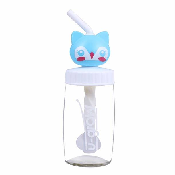 U-grow Cute cat Glass Sipper Bottle for Kids and Baby - Blue - 340 ml