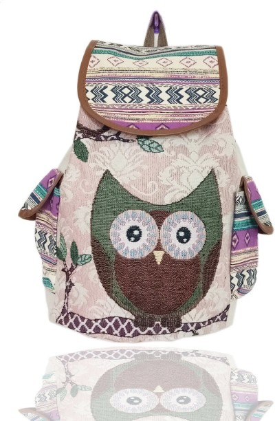 New Owl Patchwork Cotton Linen School Bag Kid Backpacks Shoulder Book Bag