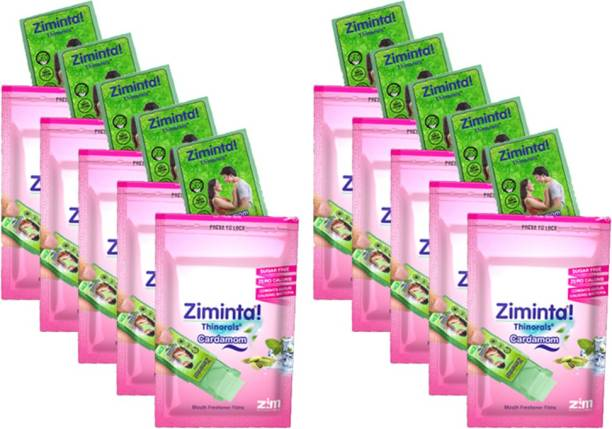 Ziminta Cardamom Flavoured Mouth Freshener Easily Soluble Digestive Dispensable Strip (30 Strips) - Pack of 10 Strip