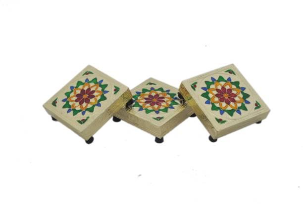 Tshot Bajoth Indian Religious Chowki/Chaurang for Puja,Puja Item Wooden, Steel Pooja Chowki