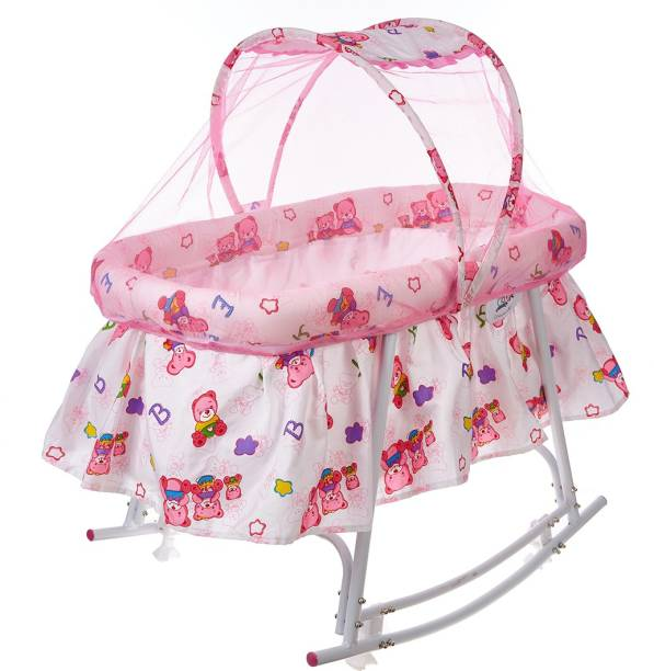 NHR baby Cradle / baby jhula / baby palna / crib / Bassinet with Mosquito Net Bassinet