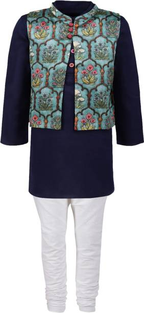 A Little Fable Boys Formal Ethnic Jacket, Kurta and Legging Set