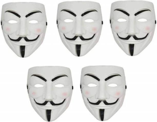 Dany Internationals V for Vendetta Comic Face Anonymous Gift Set Party Mask (White, Pack of 5) Party Mask