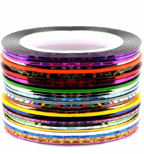 Xeekart 30 Colors Nail Striping Tape Line, FANDAMEI Multicolor Rolls
