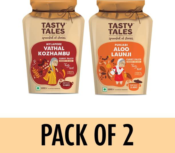 Tasty Tales Vegetarian's Delight - Punjabi Aloo Launji + Vathal Kozhambu