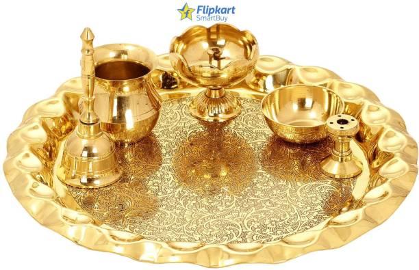 "Flipkart SmartBuy Brass Pooja Thali Set , Religious Spiritual Item, Home Temple, 10.1"" Inch Brass"