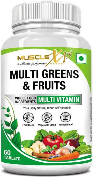 MUSCLEXp Multi Greens & Fruits Multivitamin with Vegetable & Herbal Blend - 60 Tablets