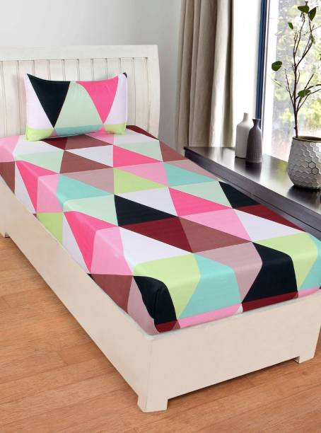 SHIVAAY HOMES 144 TC Cotton Single Printed Bedsheet