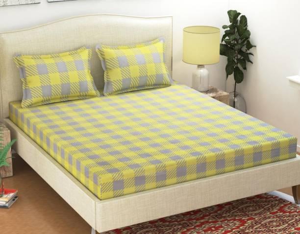 SHIVAAY HOMES 144 TC Cotton Double Checkered Bedsheet