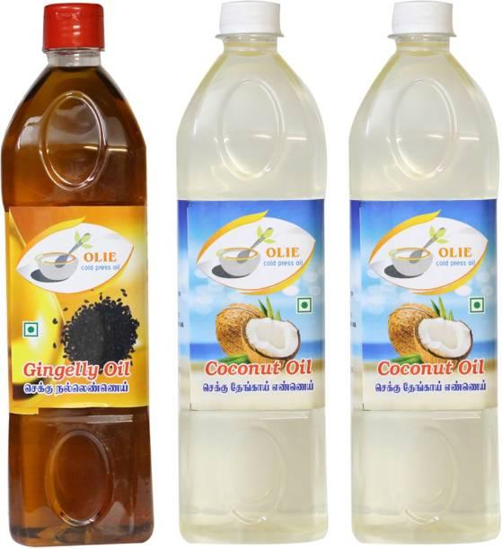 Olie Chekku cold pressed Gingelly oil 1lit \ Coconut oil 2lit combo Coconut Oil Plastic Bottle
