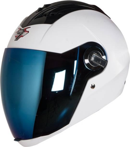 Steelbird SBA-2 7Wings Dashing in White with Tinted Chrome Visor Motorbike Helmet