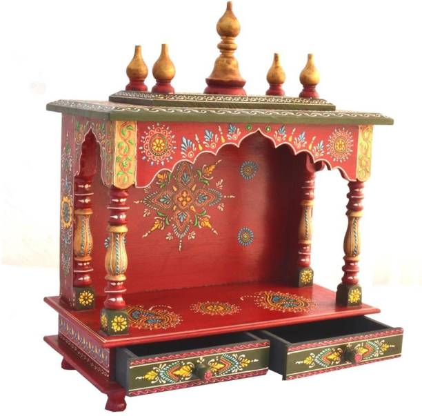 kamdhenu art and craft Wooden Temple/ Home Temple/ Pooja Mandir/ Pooja Mandap/ Temple for Home Solid Wood Home Temple