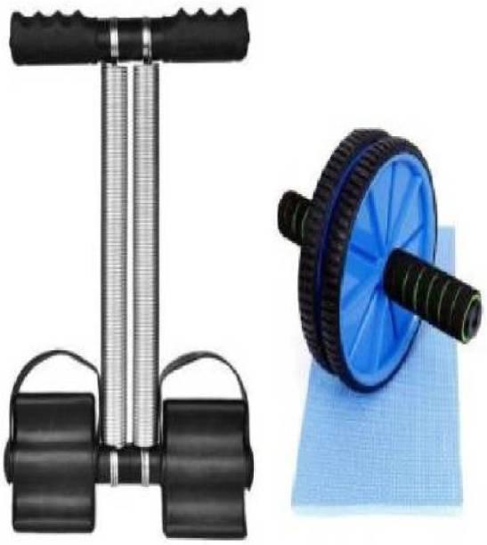 Savgyan Double Spring Tummy Trimmer with AB Wheel Exerciser Home Gym Kit