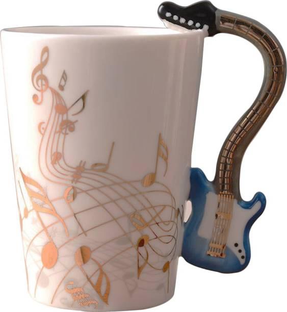 BONZEAL Gold Printed Guitar Ceramic Coffee Mug