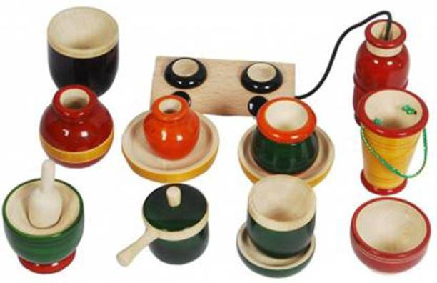 Tovick Wooden eco friendly Cooking Set Roleplay Toy (Multicolor)