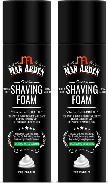 Man Arden Shaving Foam Menthol, Aloevera and Tea Tree, Pack Of 2