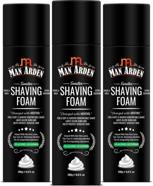 Man Arden Shaving Foam Charged with Menthol, Aloevera and Tea Tree, Pack Of 3