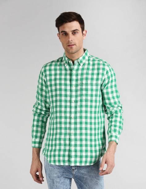 GAP Men Checkered Casual Green Shirt
