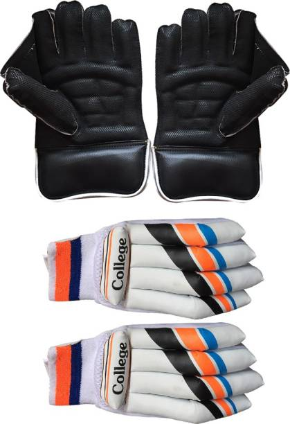 IBEX Balack Wicket Keeping Gloves With Basic College Batting Gloves Wicket Keeping Gloves
