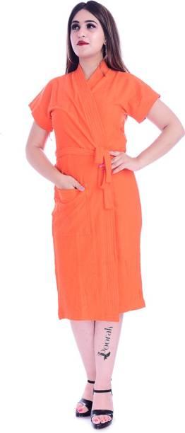 Pugnaa Orange Free Size Bath Robe