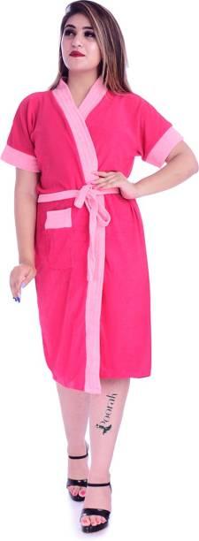 Pugnaa Pink Dark Pink Free Size Bath Robe