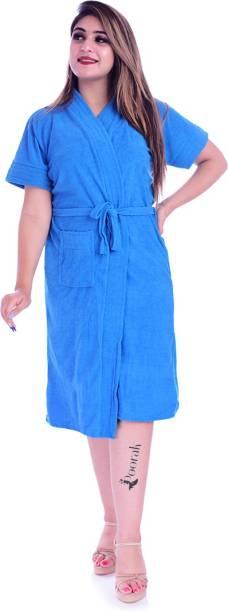Pugnaa Turqouise Blue Free Size Bath Robe