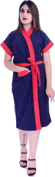 Poorak Red, Blue Free Size Bath Robe