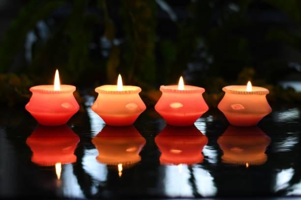 Collectible India Matki Diya Floating Wax Candles Tealight for Diwali Candle