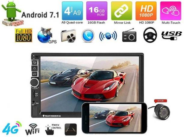 Sound Boss 2nd Generation Android 2Din 7'' Inch Ultra HD Capacitive Polegadas Touch Screen GPS Navigation AM/FM Radio Audio Receiver Support Mirrorlink/WiFi/Bluetooth/1080P video With Rear View camera (1GB/16GB) Car Stereo