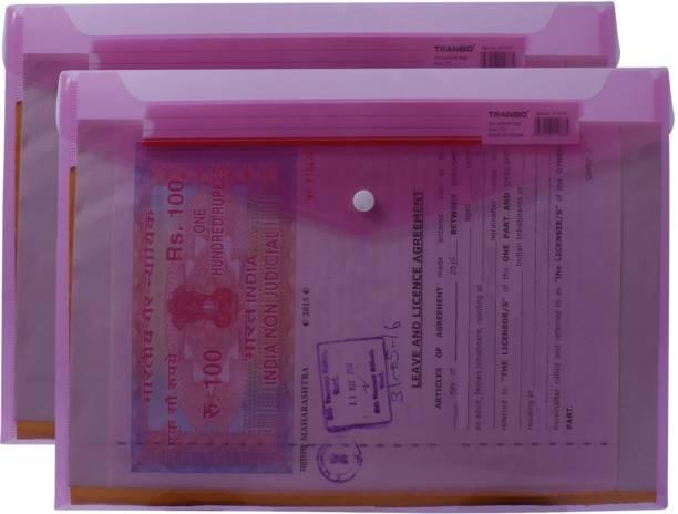 TRANBO Plastic Transparent Clear Bag Envelope Legal File Folder Document Organizer