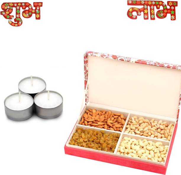 Fit2Gift Diwali Dry fruit Gift Hamper with Decoration and Diyas Combo