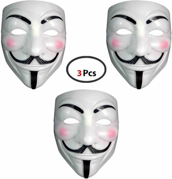 Dany Internationals V for Vendetta Comic Face Anonymous Gift Set Party Mask (White, Pack of 3) Party Mask